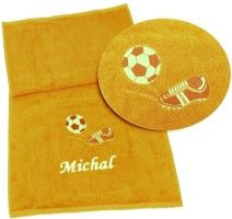 Osuška fotbal + jméno 70x140 (5 sytě žlutá)