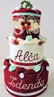 Textilní dort třípatrový - vínovo/ bílý s vyšitými jmény novomanželů