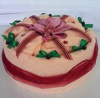 Textilní dort  jednopatrový - lososový květ