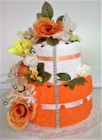 Textilní dort dvoupatrový (oranžovová růže)