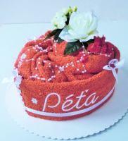 Textilní dort Srdce s vyšitým jménem (výběr ze 20 barev osušek)