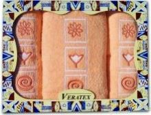 Dárkově balené vyšívané ručníky s osuškou ( 6-lososová)