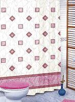 Koupelnový závěs 180x200 cm (růžové čtverce)