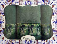 Luxusní dárkový froté set 1 osuška 2 ručníky - Kameny tm.zelené 550g m2