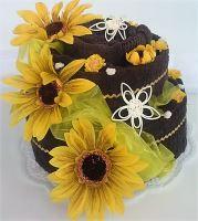 Textilní dort dvoupatrový slunečnice