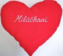 Veratex Červené srdce s výšivkou Miláčkovi