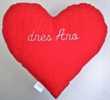 Veratex Červené srdce s výšivkou - dnes Ano/dnes Ne