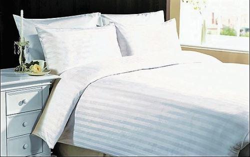 Damaškové povlečení prodloužené 70x90-140x220 proužek bílý 2 cm