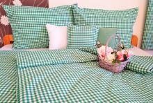 Bavlněné povlečení francie LUX 2x70x90 + 220x200 cm kanafas zelené srdíčko