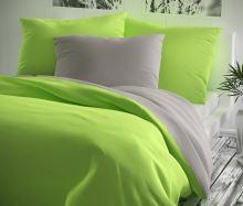 Přehoz na postel bavlna140x200 žlutozelený/šedý
