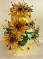 Textilní dort třípatrový - slunečnice