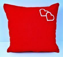 Veratex Froté polštářek s výšivkou srdce 40x40 cm červený