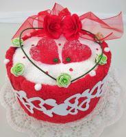 Textilní dort pro Vašeho miláčka 1ks osuška + 1ks ručník