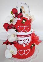 Textilní svatební dort třípatrový vyšitá srdíčka 1ks osuška 2ks ručník