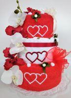 Textilní dort třípatrový vyšitá srdíčka 1ks osuška 2ks ručník