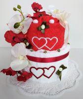 Veratex Textilní dort dvoupatrový vyšitá srdíčka 2ks ručníku