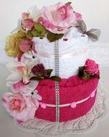 Veratex Textilní dort dvoupatrový růžová růže