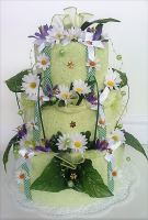 Textilní dort třípatrový - louka