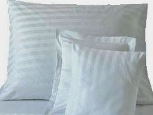 Damaškový povlak na polštář 70x90cm proužek bílý 2 cm HOTELOVÝ uzávěr