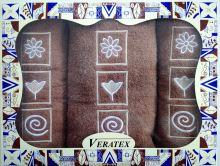 Dárkově balené vyšívané ručníky s osuškou (31-hnědá)