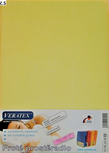 Froté prostěradlo dvoulůžko 180x200 cm (č. 5-sv.žlutá)