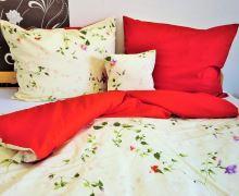 Bavlněné povlečení 70x90, 140x200 sv.žlutý květ/červená