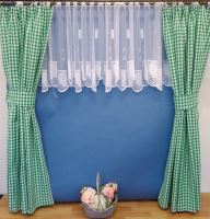 Závěs kanafas zelené srdíčko - výška 290/ šířka 140cm