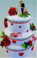 Textilní dort - třípatrový červená růže