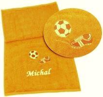 Ručník fotbal + jméno 50x100 sytě žlutá