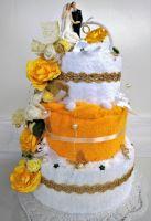 Textilní dort třípatrový - žluto/bílý