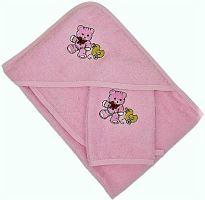 Froté osuška s kapucí slintákem a žínkou 70x70 38x28 13x25 (růžový)