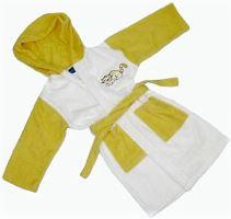 Dětský froté župan s výšivkou 2-4 roky (žluto-bílý)