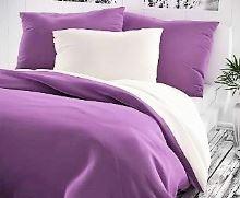 Bavlněné povlečení fialové/bílé 70x90+140x200cm