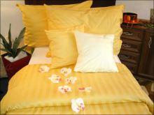 Damaškové povlečení  70x90 - 140x200 (proužek sytě žlutý 2 cm)