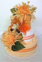 Textilní dort třípatrový - žluté chryzantémy