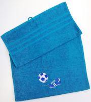 Ručník fotbal 50x100 azurově modrá