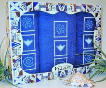 Dárkově balené vyšívané ručníky s osuškou (12-tm.modrá)