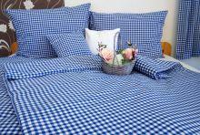 Bavlněné povlečení francie LUX 2x70x90 + 220x200 cm kanafas modré srdíčko