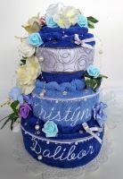 Veratex Textilní dort třípatrový - modrý s vyšitými jmény novomanželů