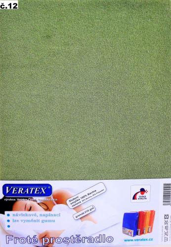 Froté prostěradlo jednolůžko 90x200/16cm (č.12-stř.zelená)