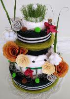 Veratex Textilní dort třípatrový - zeleno/bílý